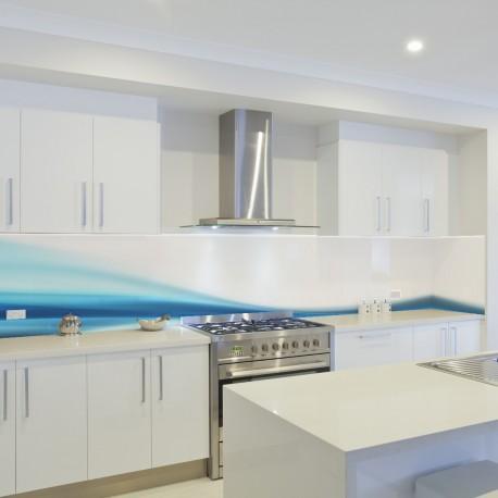Panel szklany do kuchni niebieska fala