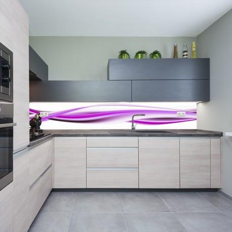 Panel szklany do kuchni fioletowa fala