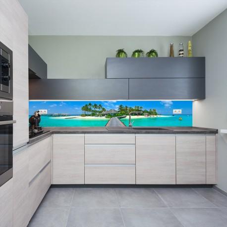 Panel szklany do kuchni wyspa marzeń