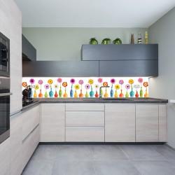 Panel szklany do kuchni kwiatki w wazonach