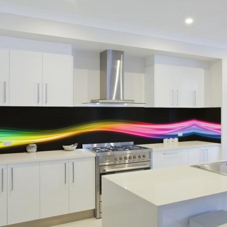 Panel szklany do kuchni kolorowa fala