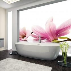 Panel szklany  do łazienki kwiaty