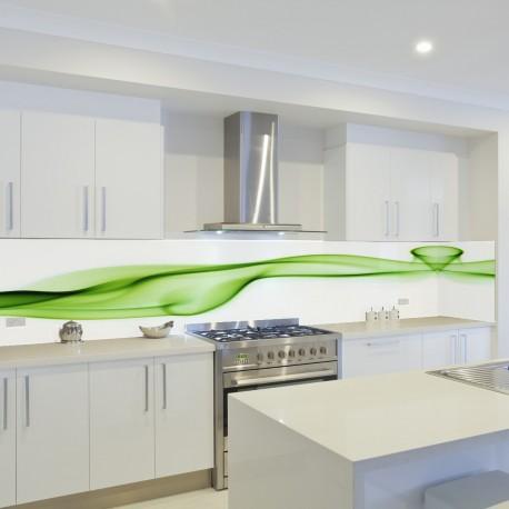Panel szklany do kuchni zielona fala