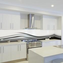 Panel szklany do kuchni czarna fala