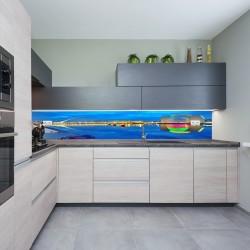 Panel szklany do kuchni most Samuel Beckett