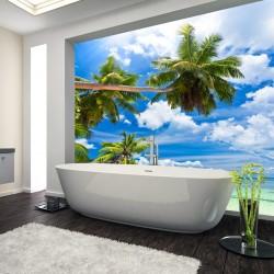Panel szklany  do łazienki palmy