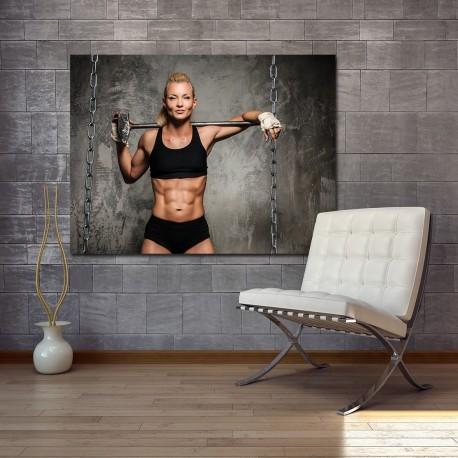 Obraz szklany kobieta na siłowni 2