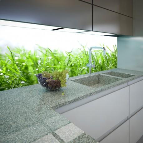 Panel szklany do kuchni rosa na trawie