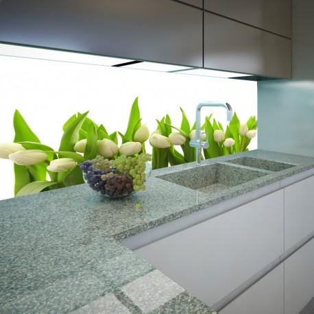Panel szklany do kuchni białe tulipany
