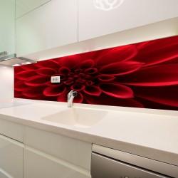 Panel szklany do kuchni czerwony kwiat