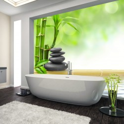 Panel szklany do łazienki bambusy