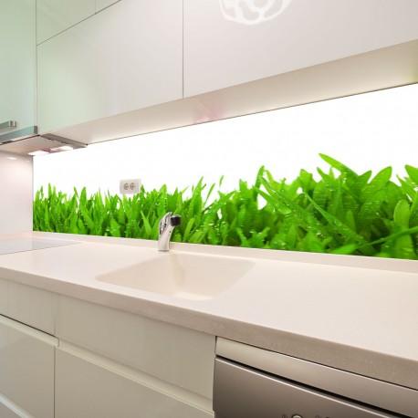Panel szklany do kuchni świeża trawa