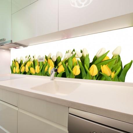 Panel szklany do kuchni tulipany
