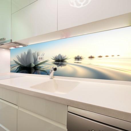Panel szklany do kuchni kwiat lotosu