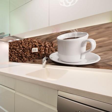 Panel szklany do kuchni świeża filiżanka kawy