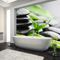 Panel szklany do łazienki kamienie