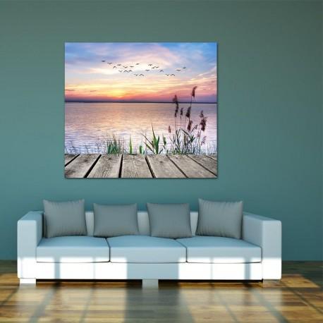 Obraz szklany molo nad jeziorem