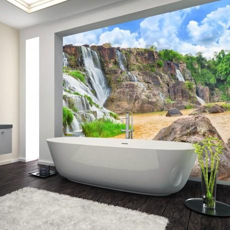 Panel szklany do łazienki wodospad w skałach