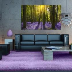 Obraz szklany fioletowy las