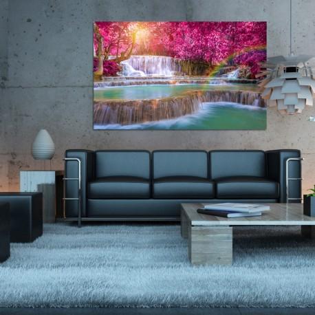 Obraz szklany wodospad w  różowym lesie