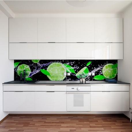 Panel Szklany Do Kuchni Z Motywem Limonek W Wodzie