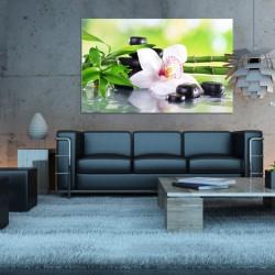 Obraz szklany kwiat i bambus