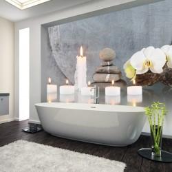 Panel szklany do łazienki kąpiel przy świecach
