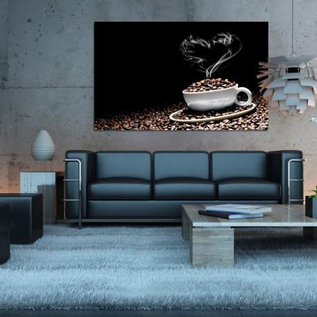 Obraz szklany filiżanka z ziarnami kawy