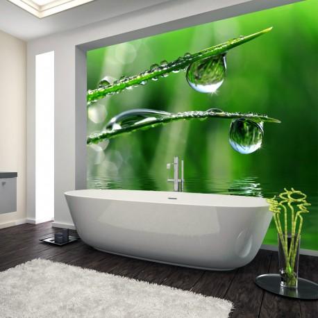 Panel szklany do łazienki rosa na trawie