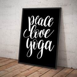 Plakat PEACE LOVE YOGA czarny