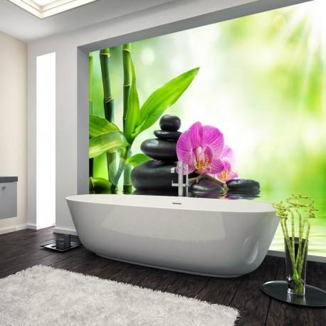 Panel szklany do łazienki kąpiel przy orchideach