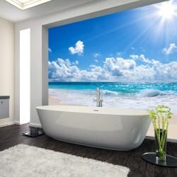 Panel szklany do łazienki słoneczna plaża
