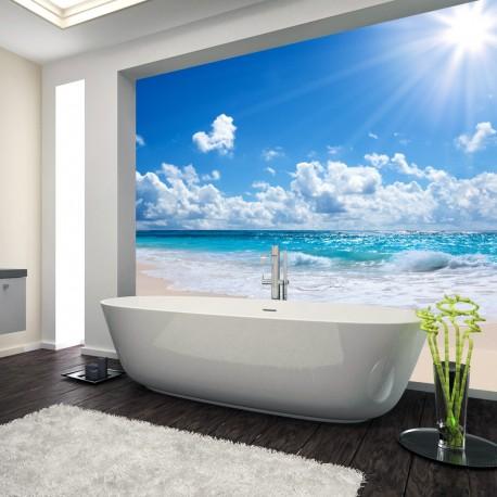 Panel szklany do łazienki z motywem słonecznej plaży