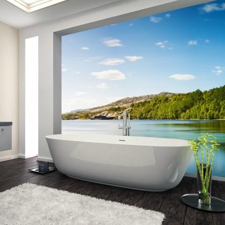 Panel szklany do łazienki dzika plaża