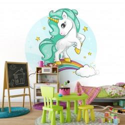 Fototapeta do pokoju dziecka jednorożec na białym tle