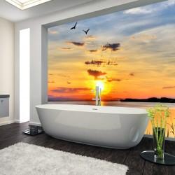 Panel szklany do łazienki zachód słońca