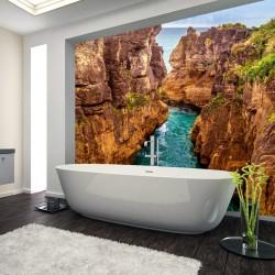 Panel szklany do łazienki rzeka w kanionie
