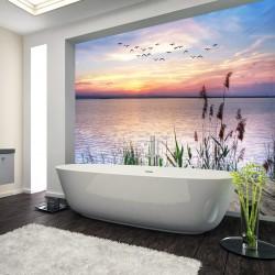 Panel szklany do łazienki jezioro