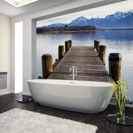 Panel szklany do łazienki molo nad jeziorem