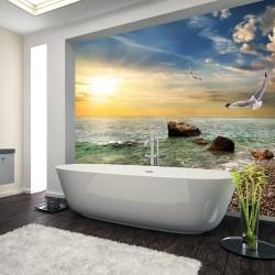 Panel szklany do łazienki latające mewy