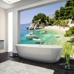 Panel szklany do łazienki plaża w Breli