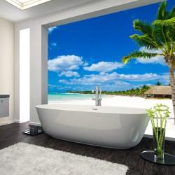 Panel szklany do łazienki plaża z palmami