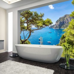 Panel szklany do łazienki wyspa Capri