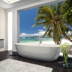 Panel szklany do łazienki pod palmą