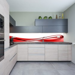 Panel szklany do kuchni czerwona fala