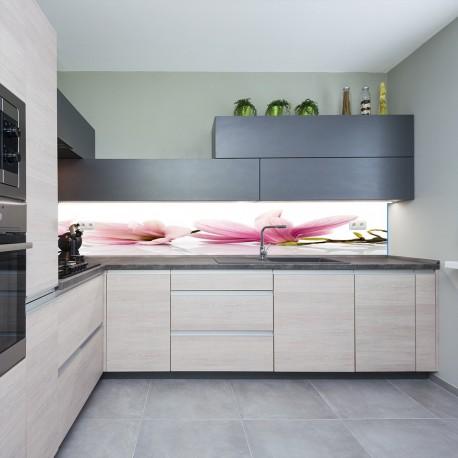 Panel szklany do kuchni magnolie