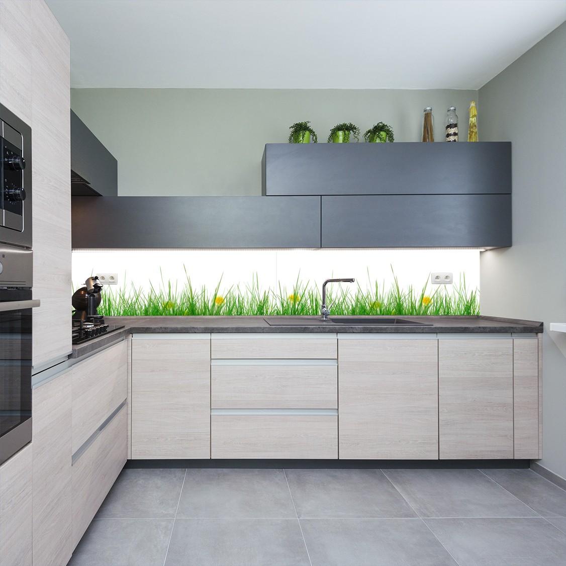 Panel Szklany Do Kuchni Z Motywem Trawy Na Białym Tle