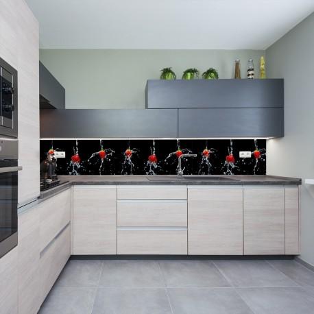 Panel szklany do kuchni truskawki i wiśnie
